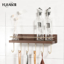 Load image into Gallery viewer, Solid wood kitchen rack wall-mounted punch-free household seasoning kitchenware storage storage shelf