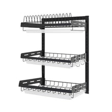 Load image into Gallery viewer, New 304 Stainless Steel Kitchen Bowl Rack Tableware Cup Drainer Dish Drying Rack Kitchen Wall-mounted Storage Rack Storage Box