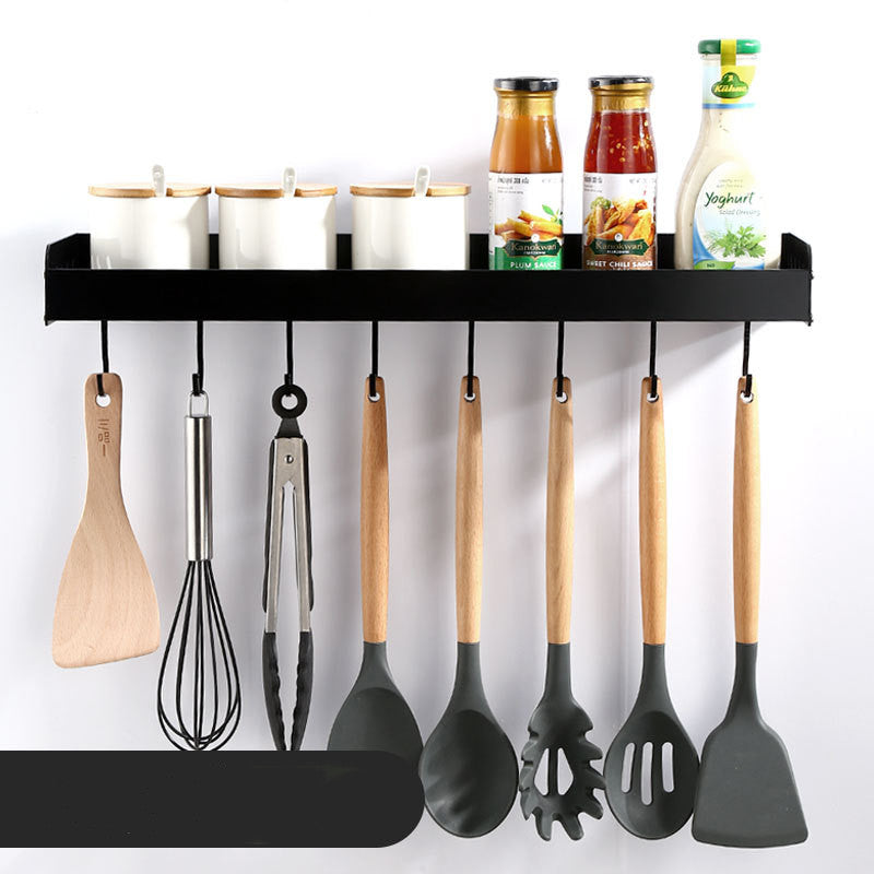 Aluminum Storage Hanging Shelf Kitchen Storage Rack Pantry Cookware Spice Shelf Punch-free with Pole Household Rack