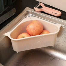 Load image into Gallery viewer, Kitchen triangle drain basket sink garbage storage basket plastic washing basket, fruit and vegetable sponge water filtration
