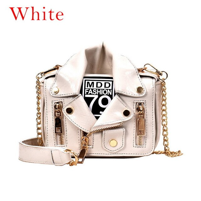 Fashion Chain Motorcycle HandBags Women Rivet Clothing Jacket Shoulder Messenger Bag Women PU Leather Crossbody