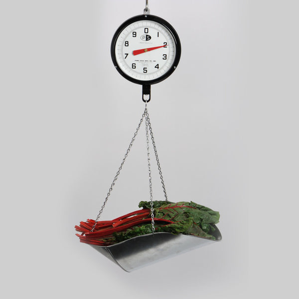 Hanging scale with metal chain and basket, 20lb.