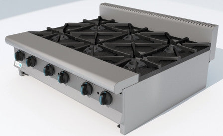 "Hot Plate, (6ea) 12"" x 12"" Top Grates, Gas, Manual Controls"