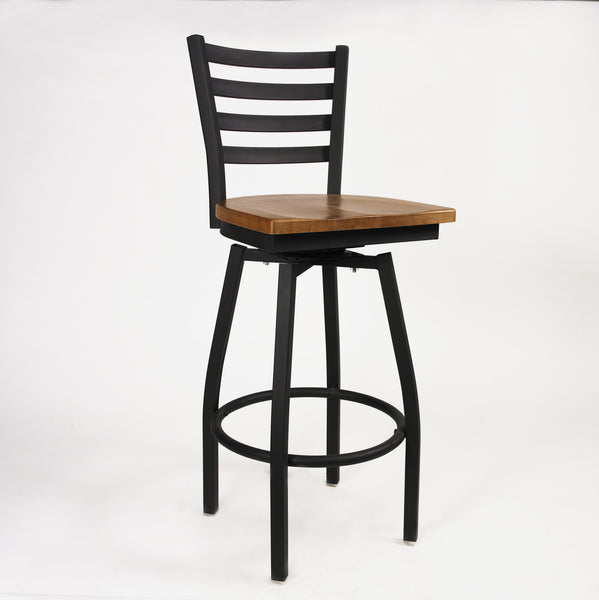Bar Boggs Bar Stool Black Frame With Wood Seat