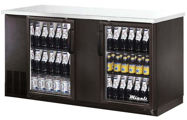 Migali Refrigeration, Glass Door Back Bar Refrigerator- C-BB60G