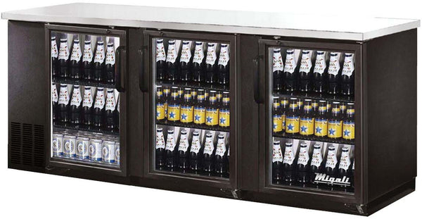 Migali Refrigeration, Glass Door Back Bar Refrigerator- C-BB72G