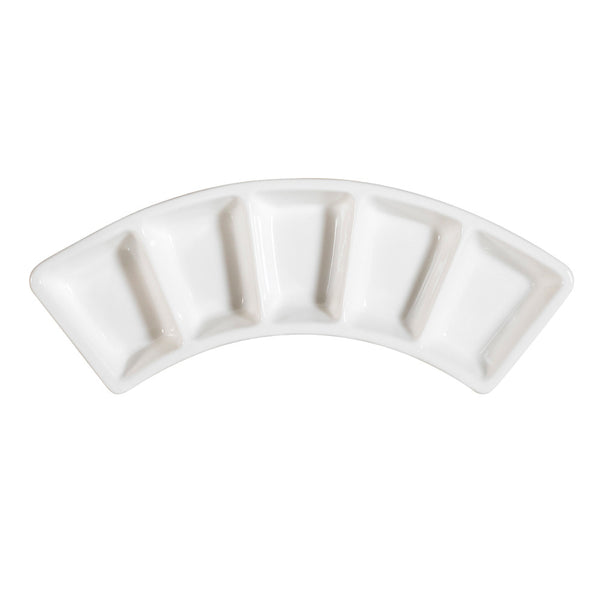 Bone White Porcelain 5 Compartments Wavy Divided Plate (CN-5B10) (24/pcs)