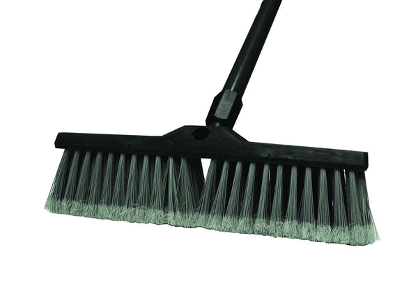 18 inch Floor Push Broom with Sure-Grip Metal and Swivel Handle, Grey