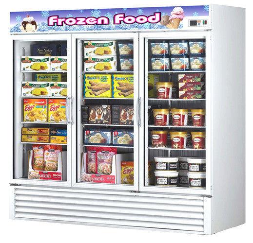 Turbo-Air Three Section Glass Door Merchandising Freezer- TGF-72F