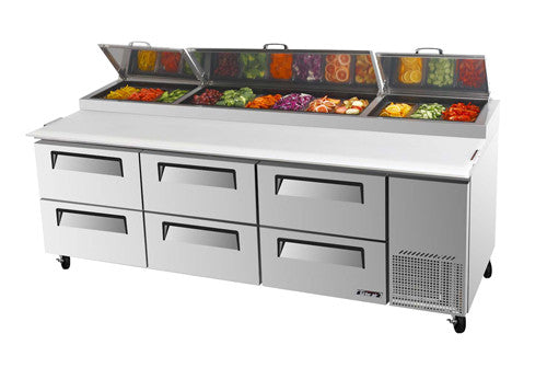 Turbo-Air  Pizza Prep Table, Refrigerated Counter- TPR-93SD-D6-N