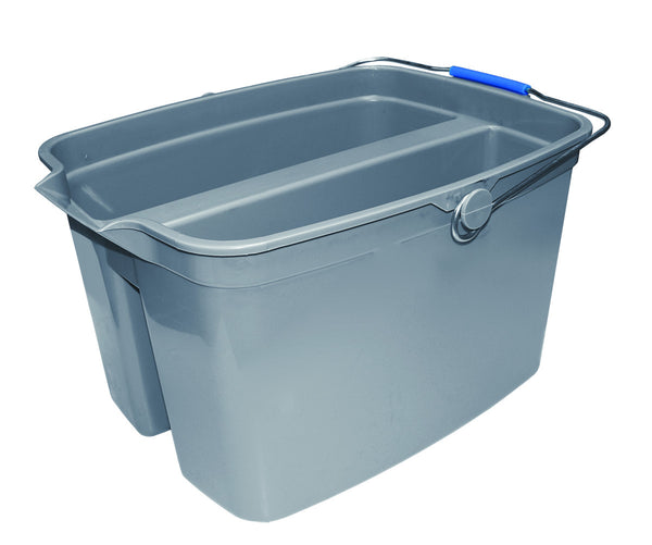 19 Qt Double Utility Pail with  Loop Handle, Gray, Plastic