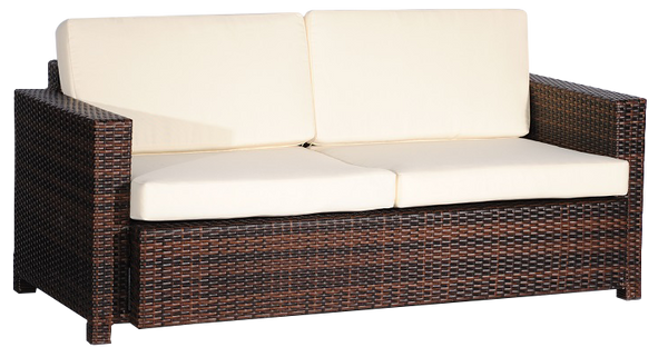 Double Seat Couch,Weave, W/Cream Cushion