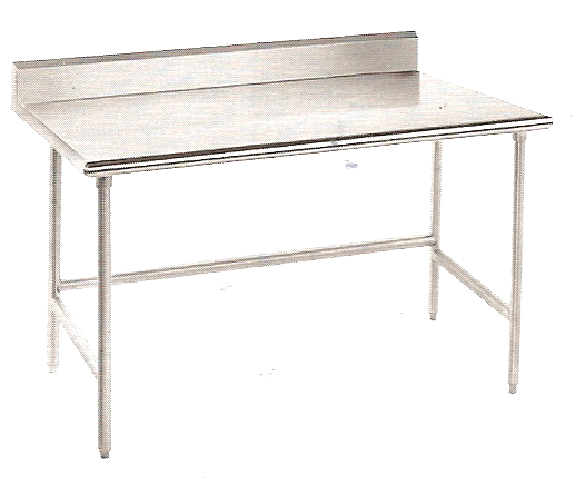 "KCS Stainless Steel Worktable W/ Backsplash & Crossbar (30""X48"")"