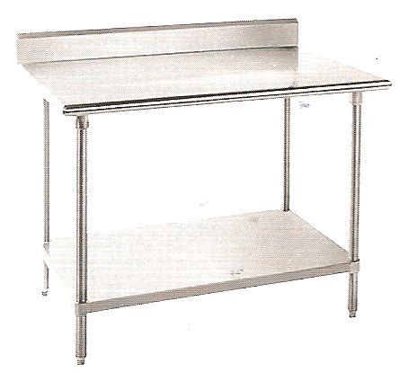 "KCS Stainless Steel Worktable W/ Backsplash & Galvanized Undershelf (24""X48"")"