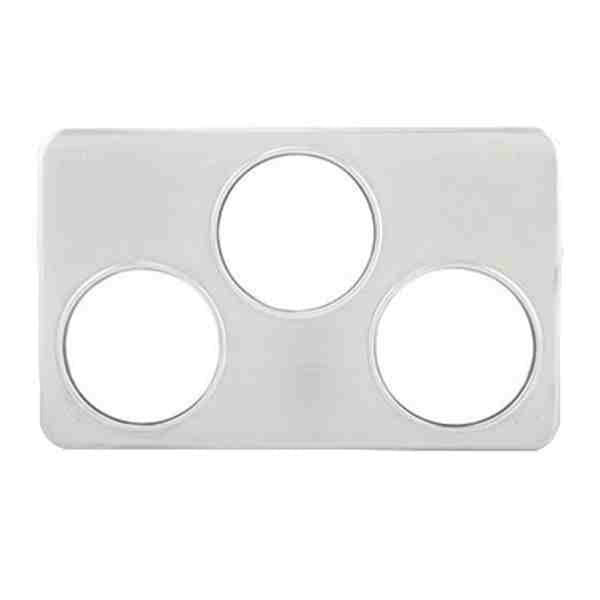 "Adapter Plate, 3 Hole (6-3/8"") for baine marie pots, S/S"