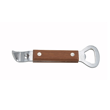 S/S Bottle Opener/Can Punch, Wooden Handle