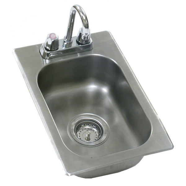 KCS Metal (11x17x5) Commercial Drop-In Sink W/Goose Neck Faucet- KCS-DIS11x17-5