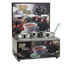 Triple 4 quart inset soup warmer with menu board