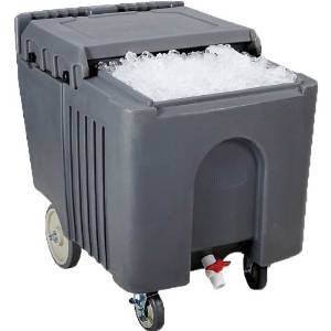 Gray Mobile Ice Caddy, 125 lb. Capacity, On Casters, NSF Approved