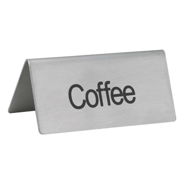 "Stainless Steel Beverage Tent-Sign, ""COFFEE"""