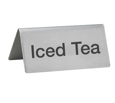 Stainless Steel Beverage Tent Sign, ICED TEA