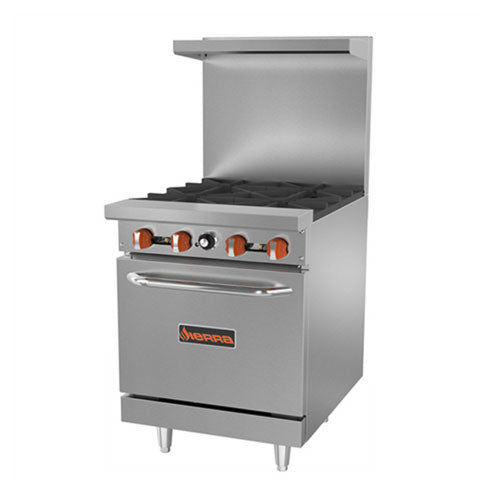 "24"" commercial range with 4 burners and oven"