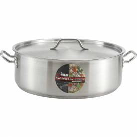Winco 25 Quart Stainless Steel Brazier W/Cover- SSLB-25
