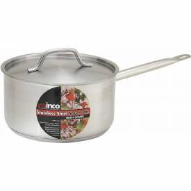 Winco 3 Quart Stainless Steel Sauce Pan W/Cover -SSSP-3