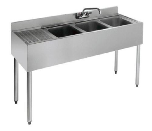 KCS Metal 3 Compartment 4' Under Bar Sink, Left Drain Board- KCS-BS4-3L
