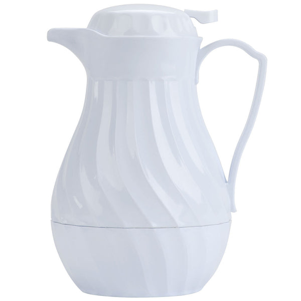 64oz., White, Swirl Design, Insulated Beverage Server