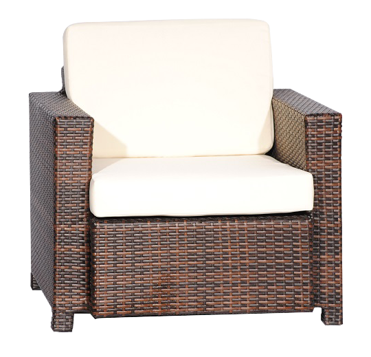 Weave Single Outdoor Couch, Espresso Weave W/cream Cushion