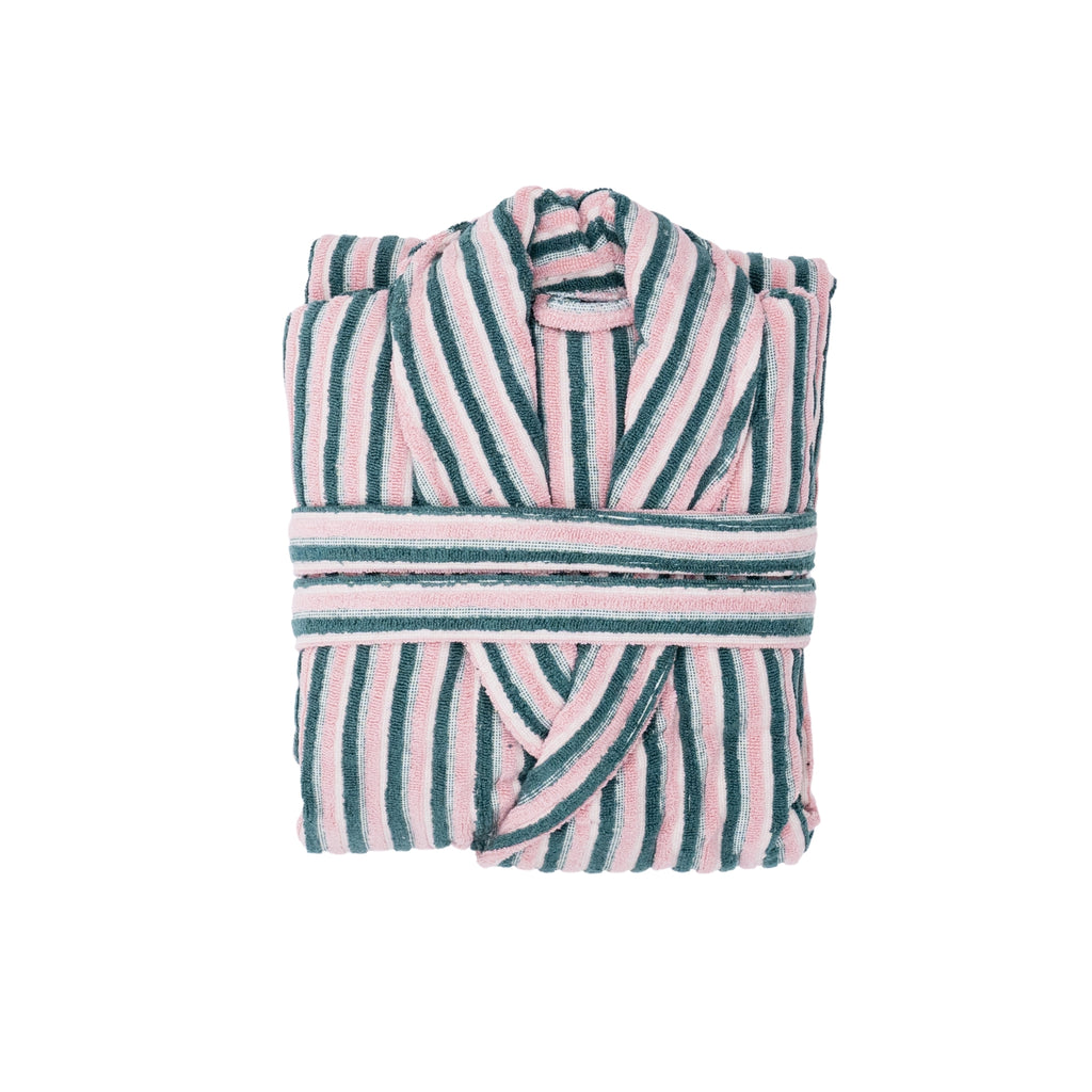 PINK AND GREEN STRIPY TURKISH TOWEL ROBES