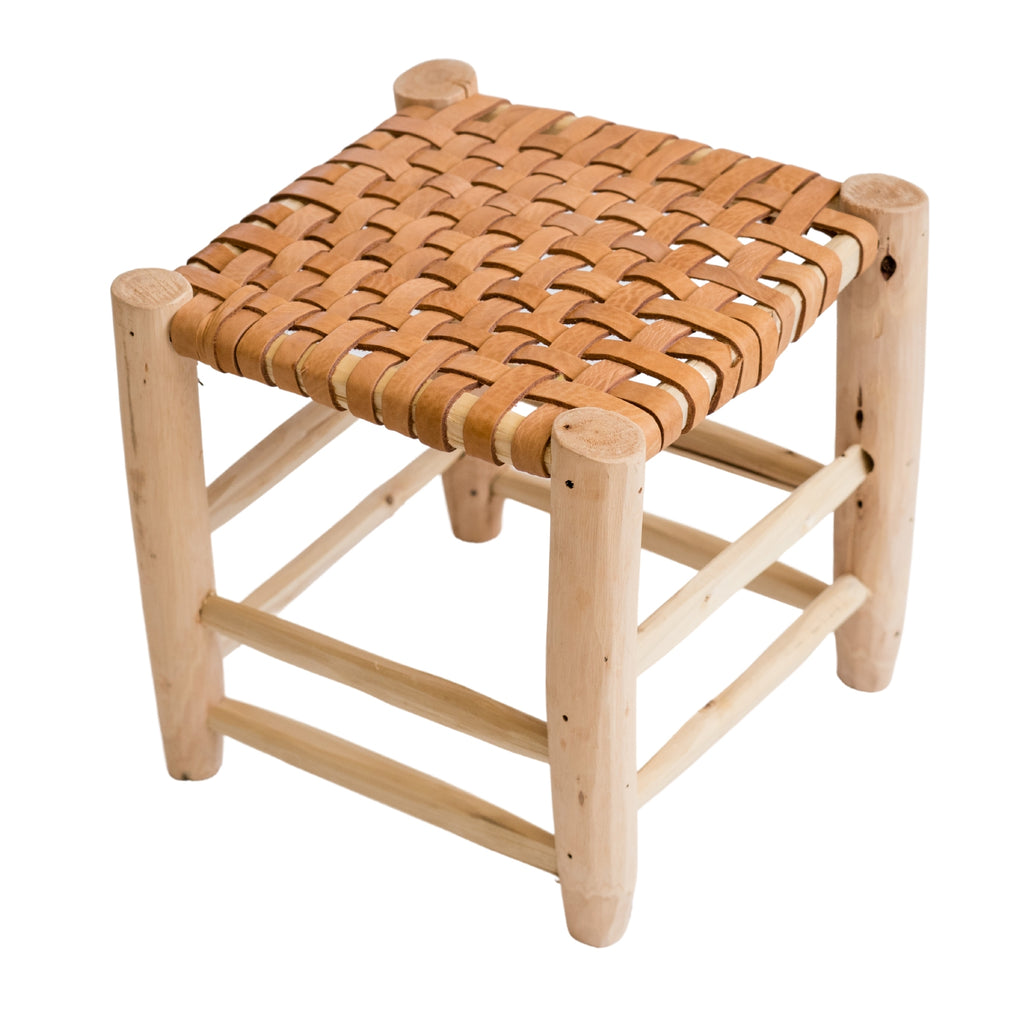 RUSTIC MOROCCAN WOVEN LEATHER STOOL
