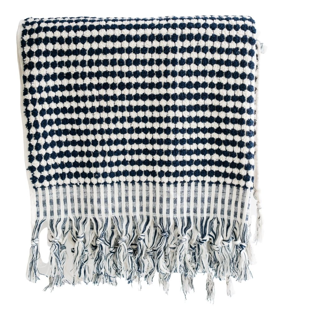 TURKISH POM POM BATH TOWEL WITH TASSELS - Navy & White