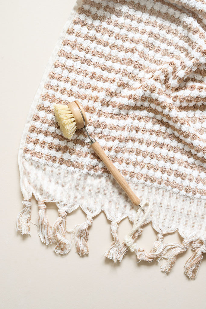 Miss April Coffee Pom Pom Bath Towel