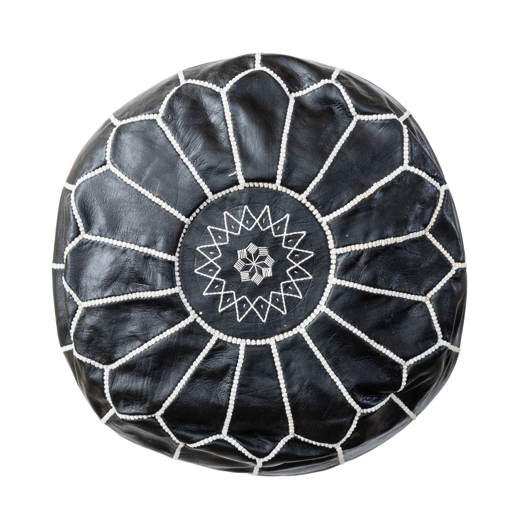 Love Moroccan Rugs - Leather Pouffe Ottoman - Black  - Melbourne - Mount Martha