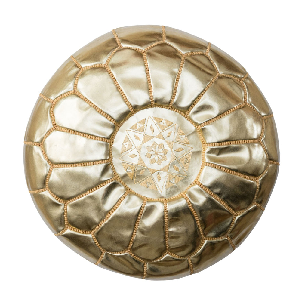 MOROCCAN LEATHER POUFFE OTTOMAN - GOLD