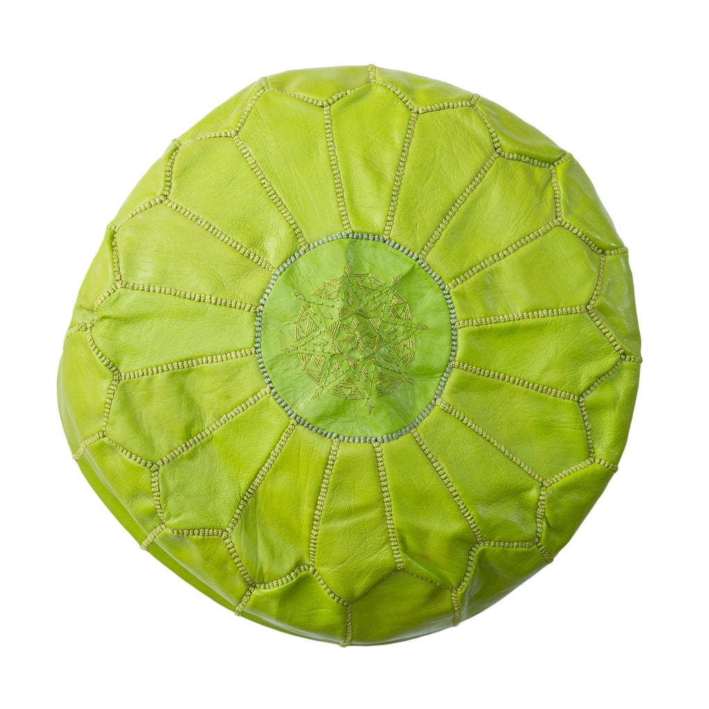Love Moroccan Rugs - Leather Pouffe Ottoman - Lime Green  - Melbourne - Mount Martha