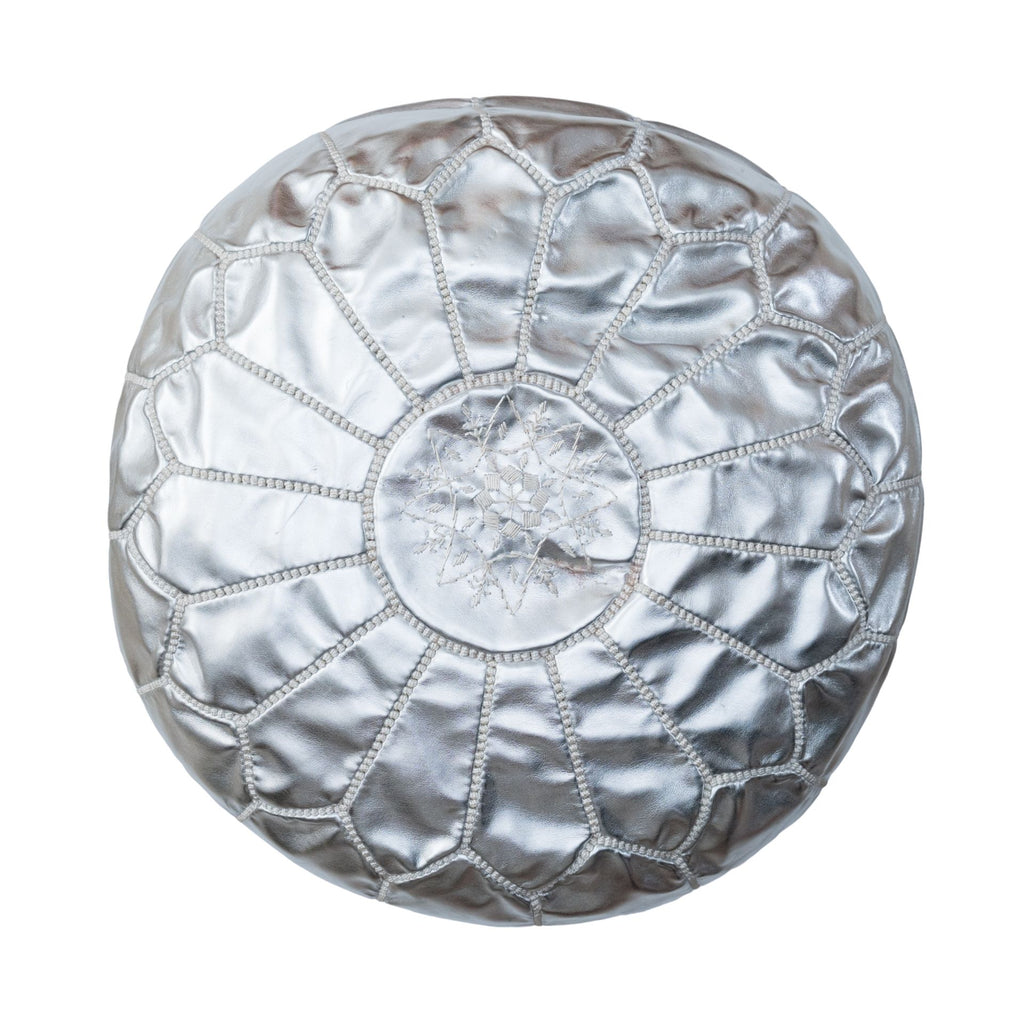 Love Moroccan Rugs - Leather Pouffe Ottoman - Silver  - Melbourne - Mount Martha