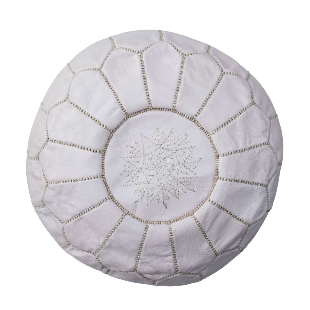 Love Moroccan Rugs - Leather Pouffe Ottoman - Soft Grey  - Melbourne - Mount Martha