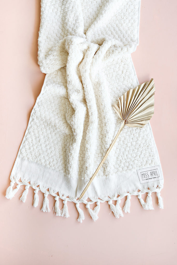Miss April Natural Pom Pom Hand Towel