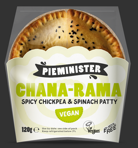 "Pieminister ""Chana Rama"" Vegan Spiced Chickpea & Spinach Patties Twin-Pack 120g"
