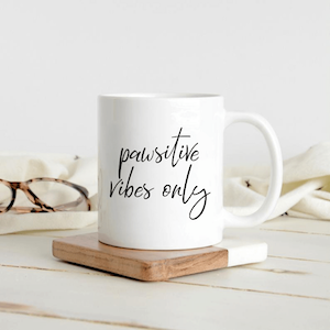 Cute Pawsitive Vibes Only Dog Lover Coffee Mug