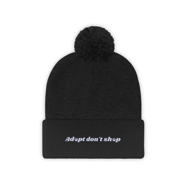 Adopt Don't Shop Pom Pom Beanie-Apparel-Black-Woofingtons