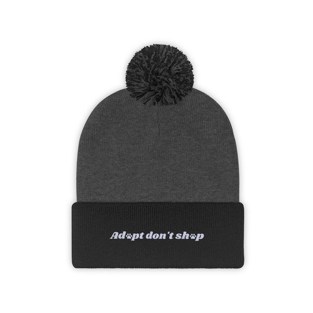 Adopt Don't Shop Pom Pom Beanie-Apparel-Black/Graphite Heather-Woofingtons