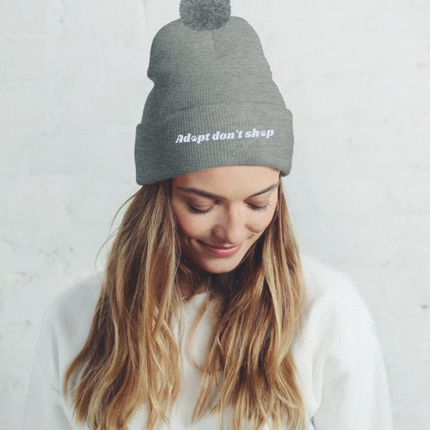Adopt Don't Shop Pom Pom Beanie-Apparel-Graphite Heather-Woofingtons