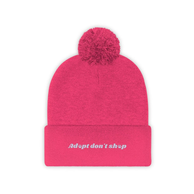 Adopt Don't Shop Pom Pom Beanie-Apparel-Neon Pink-Woofingtons