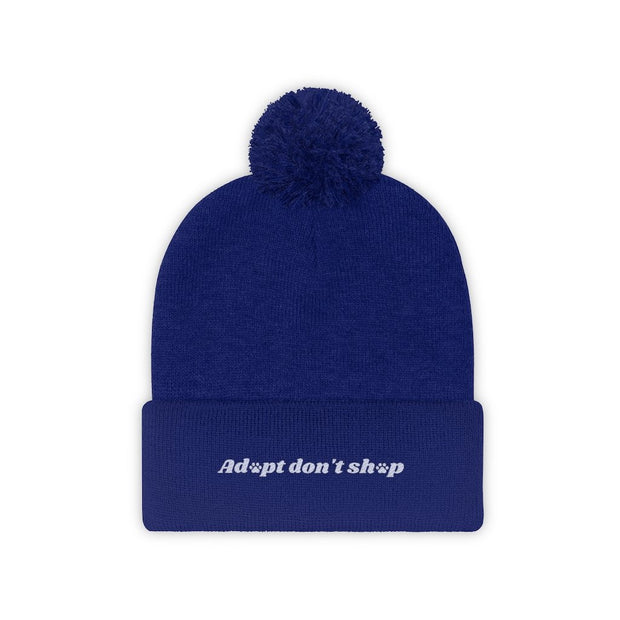 Adopt Don't Shop Pom Pom Beanie-Apparel-True Royal-Woofingtons