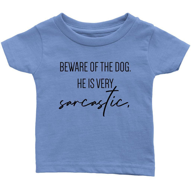 Beware Of The Dog Baby Tee-Baby Blue-Woofingtons