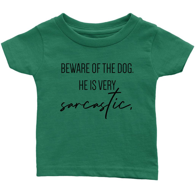 Beware Of The Dog Baby Tee-Grass Green-Woofingtons